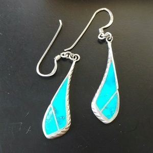 Turquoise and silver drop dangle earrings